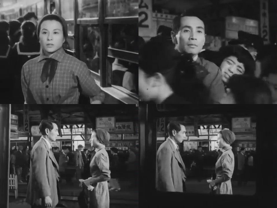Four images showing characters Reikichi and Michiko from the movie Love Leter as they reunite at a train station.