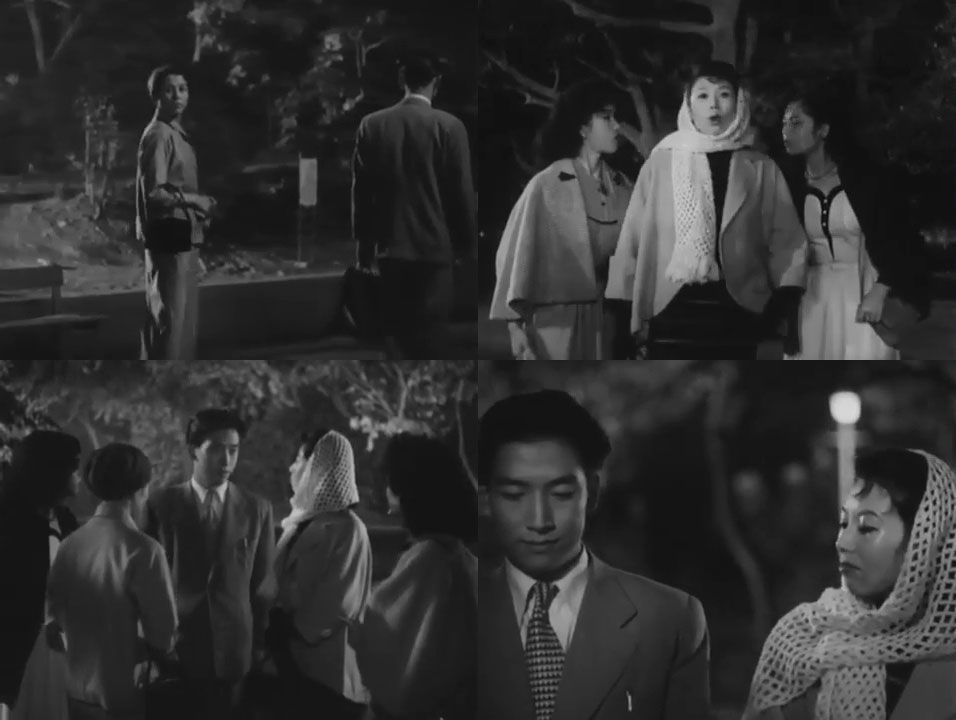 Four images from the film Love Letter in which characters Michiko and Hiroshi run into old acquaintances from Michiko's past.